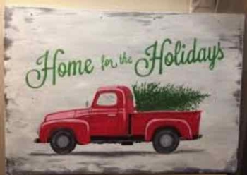 Paint on Wood Christmas Truck