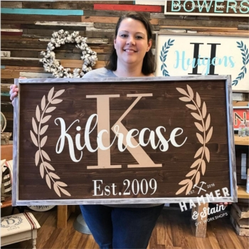 Hammer and Stain Workshop Large Personalized Sign Instructor: Eileen/Mare