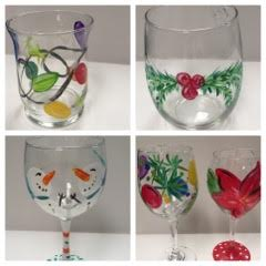 Holiday Paint on Wine Glasses