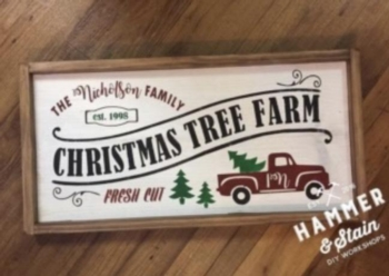 Hammer and Stain DIY Workshop Christmas Tree Sign